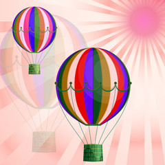 Large colored balloons soar against the bright sky and the sun. Creative vector illustration for your design.