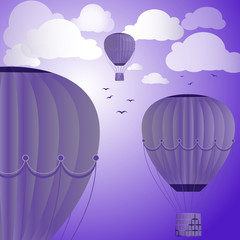 Large colored balloons soar against the evening sky, clouds and birds. Vector illustration for your design.