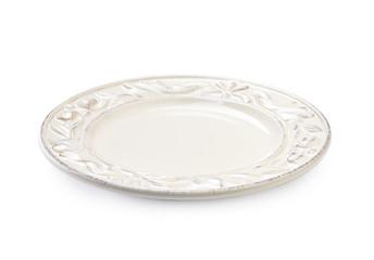 White ceramic plate isolated.