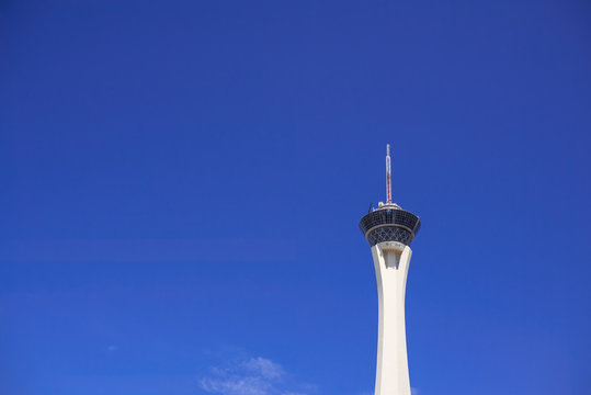Las Vegas, USA, 2018. Stratosphere tower and blue sky background on sunny day