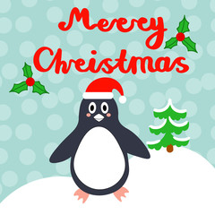 Merry Christmas greeting card with cute penguin, lettering, Holly Berry isolated blue background. Vector illustration.