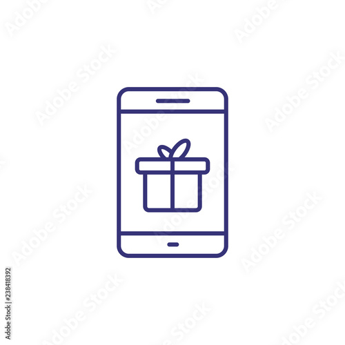 Mobile gift line icon  Mobile app, gift message, online