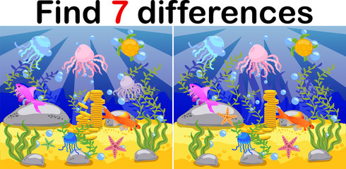 Underwater world, ocean floor with octopus, submarine, whale, fish, corals and sea shells. Educational game for kids: find ten differences.