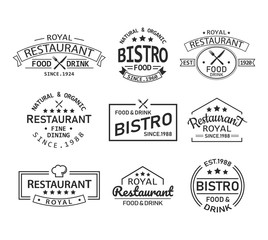 Restaurant and cafe retro logo and branding label