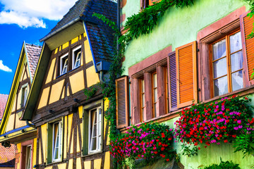 Fototapete - Traditional colorful houses .beautiful village of France Riquewihr in Alsace