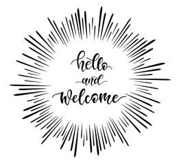 """Hand sketched """"hello and welcome"""" lettering typography."""