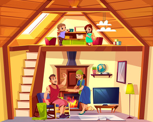 Vector cartoon interior of house with happy family, children play on attic, man and woman in living room. Cozy duplex background. Cross section of home, crest. TV set, furniture, fireplace in hall.