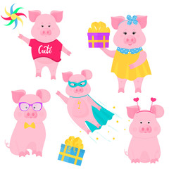 Boar walks with a windmill toy. Cute pig in superhero costume. A funny piggy holding a box with a gift. Cute piglet sits in glasses and a bow tie.