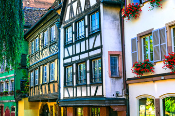 Fototapete - Charming traditional hal-timbered houses of Strasbourg , Alsace, France