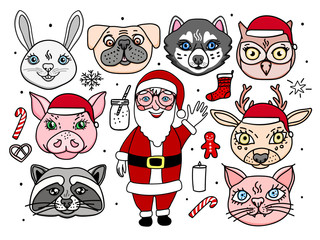 Santa Claus with animal characters. Hand drawing. Merry christmas Vector illustration set for holidays design isolated on white
