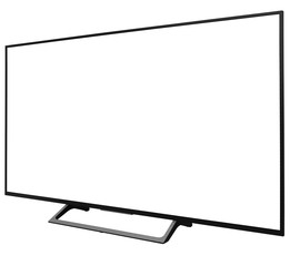 TV display screen frame with white backbackground, askance, angle view