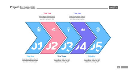 Five arrows process chart slide template. Business data. Point, number, design. Creative concept for infographic, presentation, report. Can be used for topics like management, finance, research.