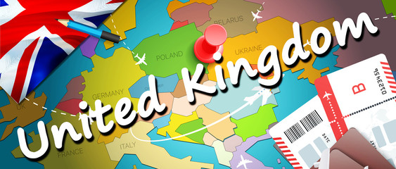 United Kingdom travel concept map background with planes,tickets. Visit United Kingdom travel and tourism destination concept. United Kingdom flag on map. Planes and flights to UK holidays to Glasgow