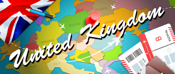 United Kingdom travel concept map background with planes,tickets. Visit United Kingdom travel and tourism destination concept. United Kingdom flag on map. Planes and flights to UK holidays to London