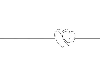 Two hearts love romantic single continuous line art. Heartbeat passion date relationship couple silhouette concept design one sketch outline drawing white vector illustration