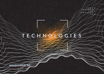 Big data background. Technology for visualization, artificial intelligence, deep learning and quantum computing. Design template for communication concept. Geometric big data backdrop.