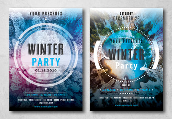 Winter Party Flyer Layout with Photo Placeholder