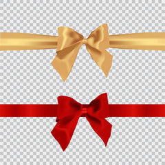Realistic red bow and ribbon isolated on transparent background. Template for brochure or greeting card