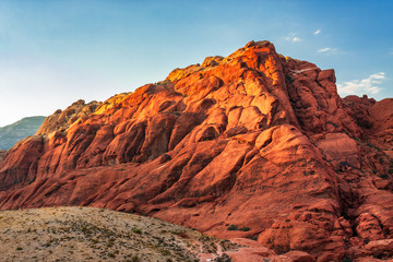 Golden sun light on rock formation at Red Rock Canyon National Conservation Area in Nevada, USA Wall mural