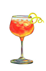 Hand drawn illustration of an alcoholic cocktail with ice and decorative curl peel colored with colored pencils