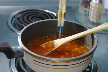 Cooking Apricots for making Preserves
