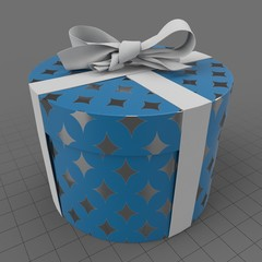 Round Christmas present with bow