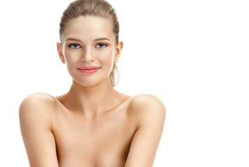 Image of beautiful smiling blonde girl on white background. Youth and skin care concept
