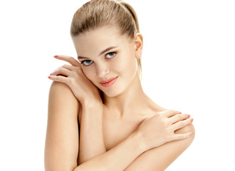 Young girl with healthy skin on white background. Youth and skin care concept