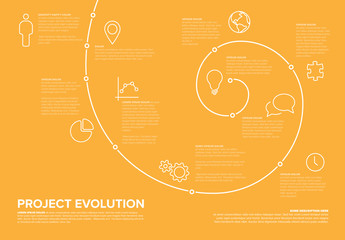 Timeline Infographic Layout with Spiral Element