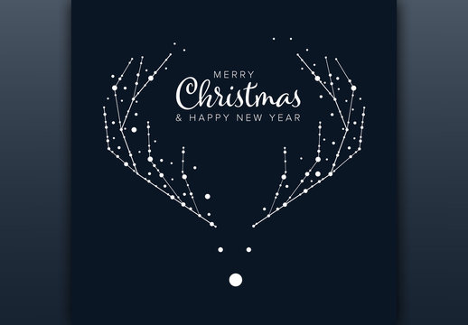 Christmas Card Layout with Minimalist Reindeer Illustration
