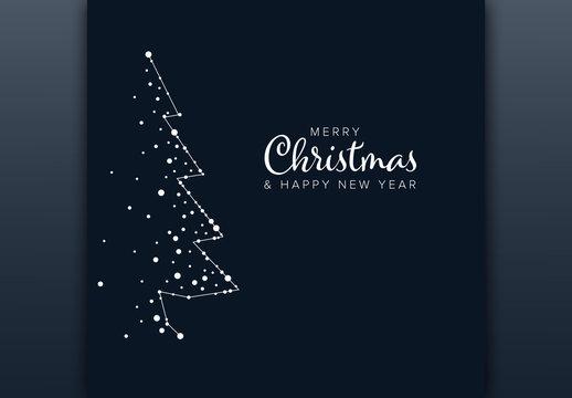 Christmas Card Layout with Minimalist Tree Illustration