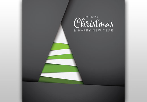 Christmas Card Layout with Abstract Paper Tree Illustration