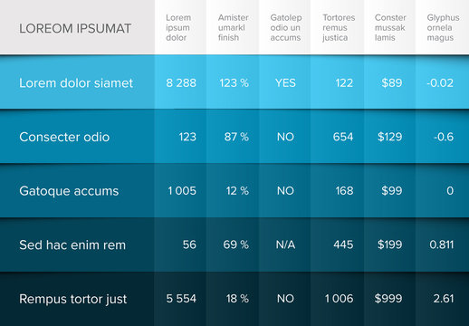 Table Infographic Layout with Blue Ombre Design