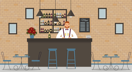 Interior of cafe or bar in loft style. Bar counter, bartender in white shirt with glasses of champagne,tables,poinsettia,chairs and shelves with bottles of alcohol.Board with menu and photos.Vector