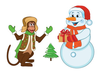 monkey and snowman