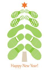 Stylish improvisation of a Christmas fir tree from footprints-02