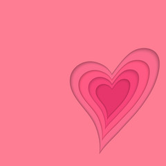 Pink vector background. Frame tiered heart. For St. Valentine's Day