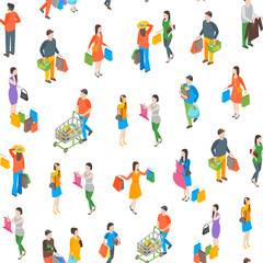 Shopping People 3d Seamless Pattern Background Isometric View. Vector