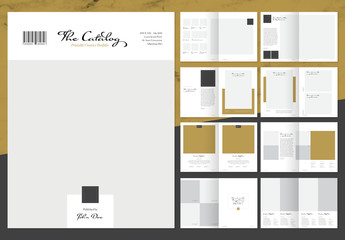 Elegant Product Catalog Layout with Gold Accents