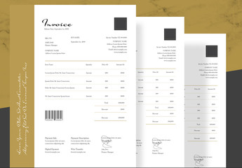 Elegant Invoice Layout with Gold Accents