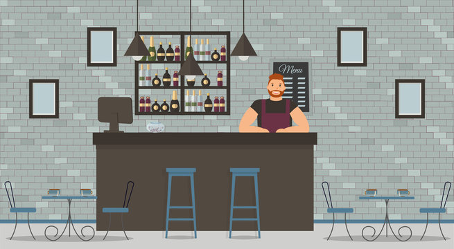 Interior of cafe or bar in loft style. Bar counter, bartender in black T-shirt and apron,tables,monitor,chairs and shelves with bottles of alcohol.Board with menu and photos.Vector flat illustration