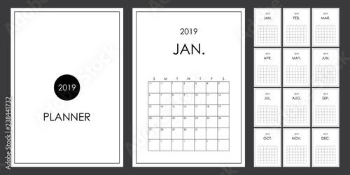 Simple and minimal planner design of 2019  Calendar, organizer