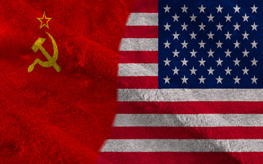 USA and USSR half flags together