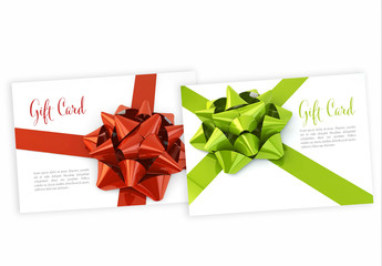 Red and Green Ribbon Gift Card Layouts