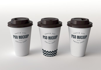 Three Paper Cups Mockup