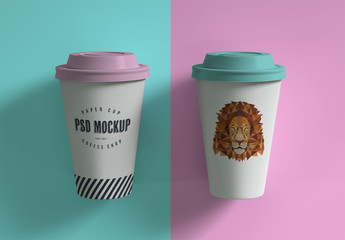 Two Paper Cups Mockup