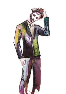 man portrait . watercolor .fashion illustration. hand drawn sketch