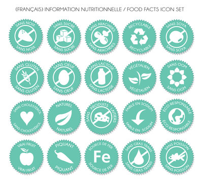 French Nutrition label icon set vector