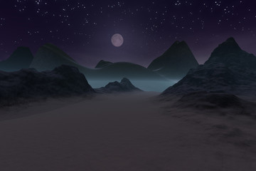 Moon over mountains, a night landscape, snow on the ground and stars in the sky.