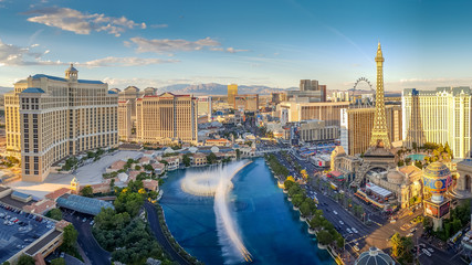 Photo sur Aluminium Las Vegas View of the Bellagio Fountains and The Strip in Las Vegas